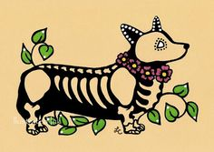 Day of the Dead Dog CORGI Dia de los Muertos Art Print 5 x 7 or 8 x 10 - Choose your own words - Donation to Austin Pets Alive on Etsy, $10.00