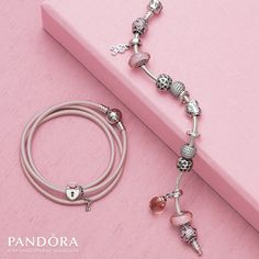 Pandora Triple Smooth Pink Leather Bracelet with Heart Lock Charm - Limited Edition for Breast Cancer support 2013