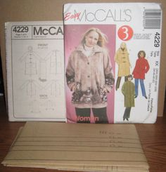 McCalls 4229 Womens Unlined Jacket Plus Size 26 28 31 32 Easy 3 hour  Uncut #McCall