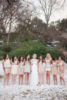 pick a color for bridesmaids dresses and let each girl choose a dress that flatters her figure (and budget) best