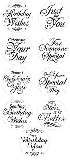 card making ideas free printables Sentiment Stamps ~ for use with circle punches Verses For Cards, Card Sayings, Circle Punch, Birthday Wishes, Birthday Sentiments, Diy Birthday, Happy Birthday Font, Outdoor Birthday, Birthday Sayings