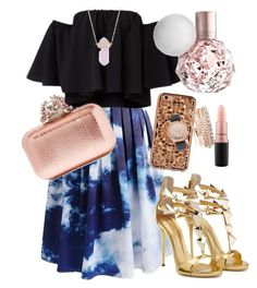"""""""simply glamour outfit #1"""" by milaaritonang ❤ liked on Polyvore featuring Chicwish, Luna Skye, Jimmy Choo, Felony Case, Jessica Carlyle and MAC Cosmetics"""