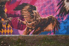 Birds of Prey Blue Yellow, Pink Purple, Birds Of Prey, Mural Art, Graffiti Art, Color Patterns, Street Art, Germany