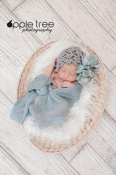 Crochet Pattern for Fleurette Baby Bonnet Hat por crochetbyjennifer