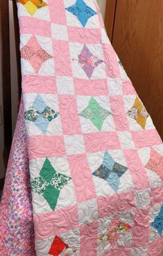 Farmhouse Chic White Back and Background History Checked Quilt All Hand-made Quilt Multi-color Zig-zag Stitches