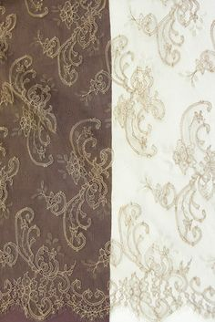 Cavalli 90 bois/eco, $175.00 Chantilly lace with a classic design and unusual color.  It's pattern is outlined and lace is woven from shades of timber color threads.  This design is used in Roberto Cavalli collection.