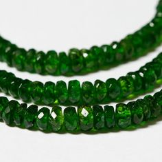 Chrome  Diopside Faceted Rondelle Beads 2.5mm - 4mm  - 20 beads