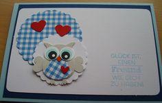 Grußkarte süße Eule  von Wollzottel auf DaWanda.com