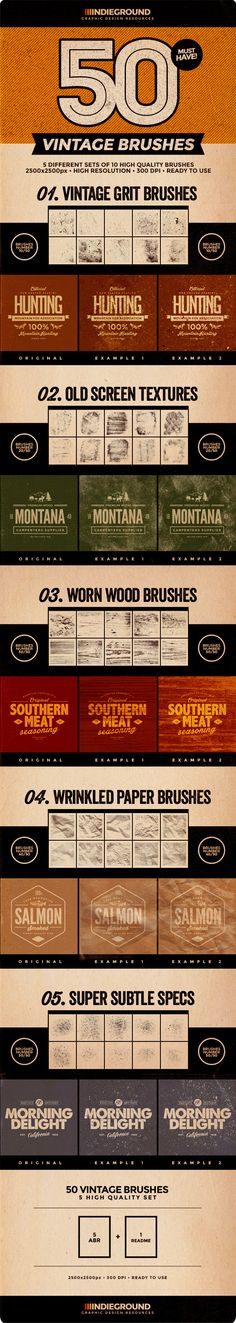 50 Vintage Brushes Set for Photoshop. Download: http://graphicriver.net/item/50-vintage-brushes-set-vol-3/12744796?ref=ksioks