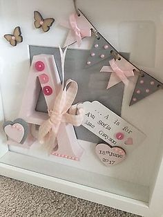 Personalised Letter in deep Box Frame for new baby Or Christening - Shadow box - Babysafe Box Frame Art, Deep Box Frames, Shadow Box Frames, Baby Crafts, Diy And Crafts, Homemade Gifts, Diy Gifts, Baby Frame, Baby Box Frame Ideas