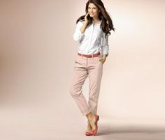 WOMEN'S CHINO PANTS, COLORED POWDER