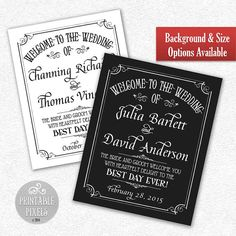 Wedding Welcome Sign // Customized with Names by PrintablePixels