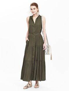 Tiered Sleeveless Maxi Dress | Banana Republic