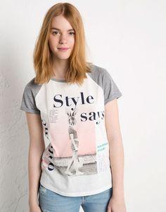 Bershka France - T-shirt imprimé BSK manche contrastée
