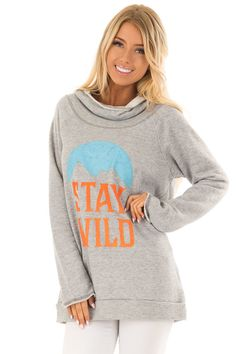 5230aa092 Lime Lush Boutique · Heather Grey  Stay Wild  Graphic Hoodie Boutique Tops