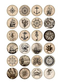 Cercle nautique Digital images des feuilles de Collage numérique idéal pour la fabrication de capsules de bouteilles, aimants, pendentifs en verre. Roue d'images nautiques avec Compass Rose, pieuvre, oursin de mer, bateau, Ancre, les méduses, les vieux navires...  ■ Vous recevrez ces