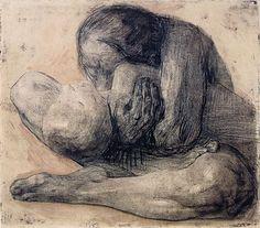 """Woman with Dead Child"" by Kathe Kollwitz, etching, 1903 National Gallery of Art,D. National Gallery Of Art, Kathe Kollwitz, Franz Marc, Guernica, Guache, Illustration, Human Condition, Vincent Van Gogh, Les Oeuvres"