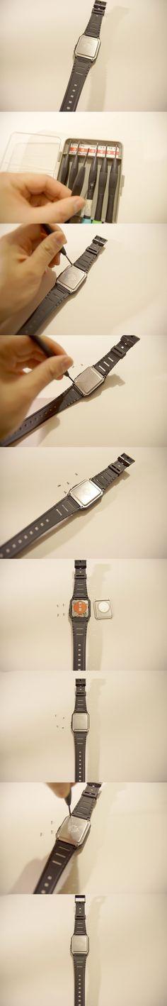 Innenseite einer Armbanduhr sehen