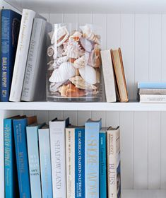 Shells in a glass - great bookend idea!