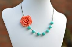 Coral Orange Rose and Deep Purple Stone Necklace Coral by Diaszabo