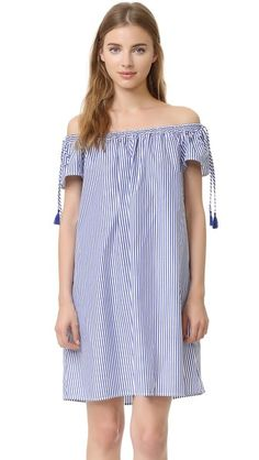 Buy it now. Elle Sasson Poppy Striped Dress - Navy Stripe. A crisp Elle Sasson shift dress in an off shoulder silhouette, embellished with neat stripes. Gathered elastic neckline. Short sleeves. Unlined. Fabric: Shirting. 100% cotton. Dry clean. Made in the USA. Measurements Length: 32.75in / 83cm, from center back Measurements from size 38. Available sizes: 34,36 , vestidoinformal, casual, camiseta, playeros, informales, túnica, estilocamiseta, camisola, vestidodealgodón…