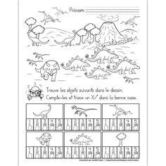 Fichier PDF téléchargeable En noir et blanc seulement 1 page L'élève doit trouver et compter les objets dans le dessin. Il trace un X dans la bonne case.