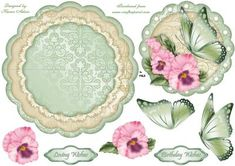 Floral Fantasy Wobble Card on Craftsuprint designed by Karen Adair - This sheet will make a scallop edge wobble card. Pretty pink Pansies and fantasy butterfly decoupage and sentiment tags included. If you like this check out my other designs, just click on my name. - Now available for download!