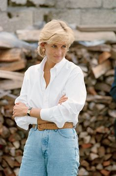 Princess Diana, gorgeous even in jeans and a white shirt.