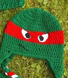 (4) Name: 'Crocheting : Ninja Turtles Beanie and Earflap Hat