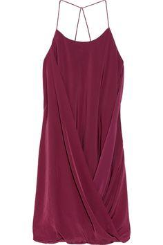Draped washed-charmeuse dress by Poleci