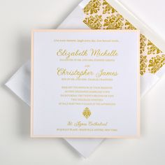 Inv. 2502 Love the idea of a classically designed wedding invitation that includes color and pattern? This invitation suite is a layer of Crystal paper on top of Coral, creating a perfect border for the invitation. The Gold Baroque Damask envelope lining brings pattern to the set while there are little touches of the pattern throughout the invitation suite. There's some shimmer to the paper and with the Gold Thermography you get an extra touch of shine.