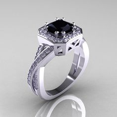Classic 14K White Gold 1.23 CT Princess Black and by artmasters