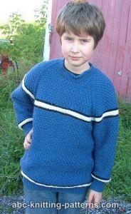 Boys' Top-Down Raglan Sweater with Stripes