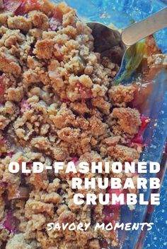 Old-fashioned Rhubarb Crumble This dessert combines humble, tart rhubarb with sugar, a little bit of spice, and a delicious buttery crumb topping for a classic family favorite. Rhubarb Desserts, Rhubarb Cake, Köstliche Desserts, Delicious Desserts, Dessert Recipes, Yummy Food, Rhubarb Ideas, Dessert Blog, Layered Desserts