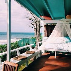 Perfect for relaxing at the beach house. Outdoor Spaces, Outdoor Living, Outdoor Decor, Outdoor Bedroom, Porches, Exterior Design, Interior And Exterior, Villa, Relax