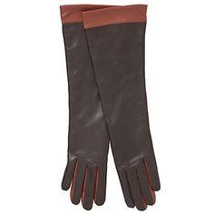 John Lewis Women Long Contrast Gloves, Chocolate/Tan