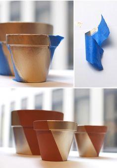 painting plant pots stripes