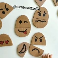 Talk about emotions with these interchangeable faces by . by And Play Preschool Learning Activities, Infant Activities, Preschool Activities, Diy For Kids, Crafts For Kids, Montessori Materials, Baby Games, Early Learning, Kids And Parenting
