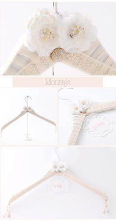 Una manera muy sencilla y original de decorar la percha para vuestro vestido de novia.
