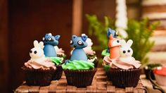 Woodland animal cupcakes from a Rustic Woodland Camping Birthday Party on Kara's Party Ideas   KarasPartyIdeas.com (20)