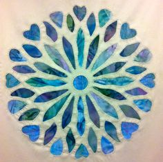 embroidery, mola, silk, blue, turquoise, rosewindow, textile, silk, wool, paint, church, art