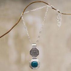Inca Necklace Chrysocolla Sterling Silver Artisan Jewelry - Wiracocha Shield | NOVICA