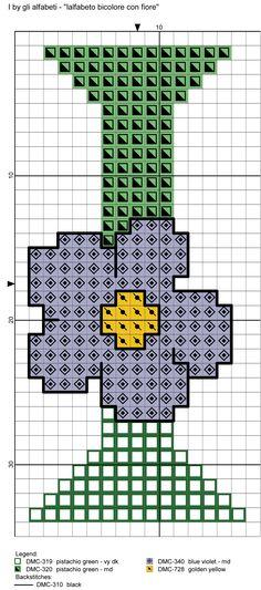 alfabeto bicolore con fiore: I