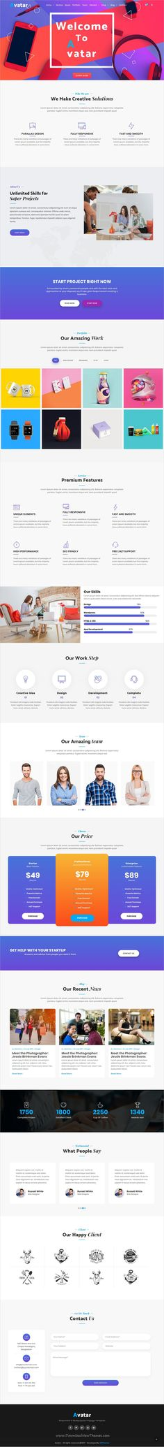 Avatar is clean and modern design responsive #HTML5 template for #onepage business #agencies website with 7 niche homepage layouts download now..
