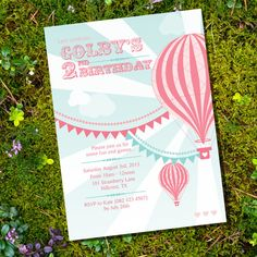 Vintage Hot Air Balloon Girl Birthday Party - Invitation - Instantly Downloadable and Editable File - Personalize at home with Adobe Reader