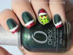 The Grinch from Nails by Kayla Shevonne.  Love the white on the French.