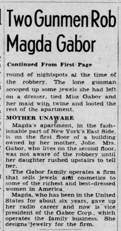 News article about a break in encounter for Magda Magda Gabor, The Lone Gunmen, First Page, News Articles, June