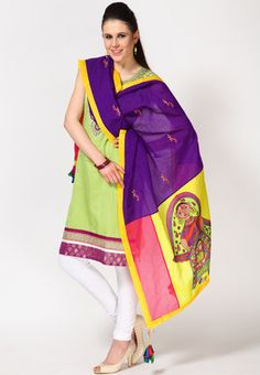 A pretty dupatta can make a light coloured suit look stylish! This dupatta in purple colour from Pakhi by Preeti Tomar is a true stunner. Made of chanderi silk, this beautiful creation is highly durable and soft to touch. Featuring a block print with fine embroidery, this dupatta is a must-buy!