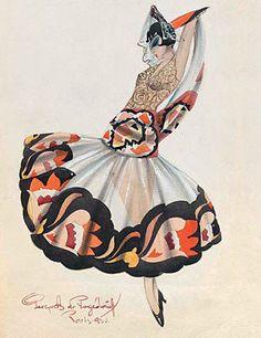 Costume design by Georges A. de Pogedaieff for Ballets Russes' Carmen 1930 #dancefashion