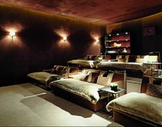 """Home Theatre Room (I like the idea of having """"beds"""" as the seating.)"""